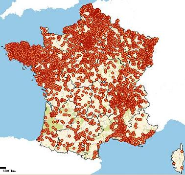carte de France des pollutions